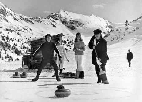 The Beatles curling in Help!, Austria, 17 March 1965