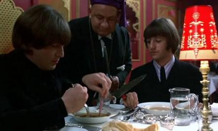 John Lennon and Ringo Starr in the Indian restaurant scene from Help!, April 1965