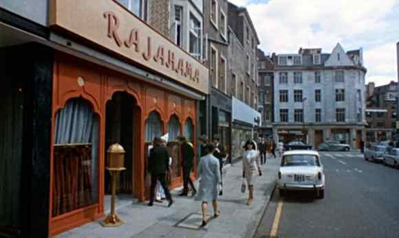 The Beatles filming Help! outside the Rajahama restaurant, London, 9 May 1965