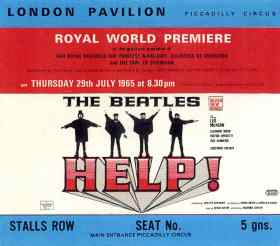 Ticket to the world premiere of Help!, 29 July 1965