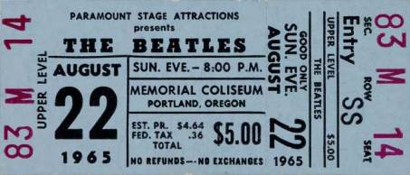 Ticket for The Beatles in Portland, Oregon, 22 August 1965
