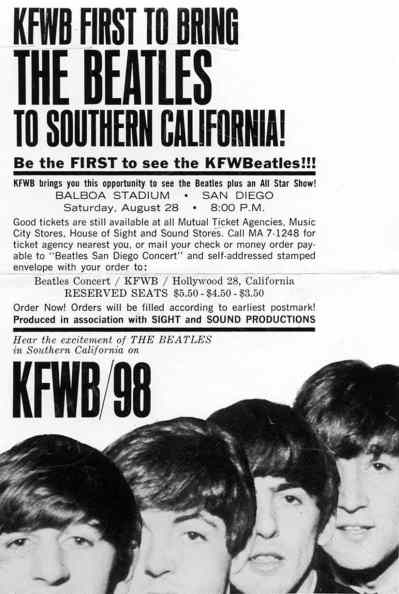 Poster for The Beatles in San Diego, 28 August 1965
