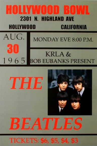 Poster for The Beatles at the Hollywood Bowl, 30 August 1965
