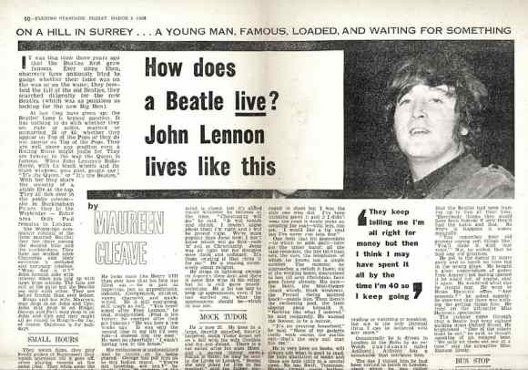 "John Lennon ""We're more popular than Jesus"" – Evening Standard, 4 March 1966"