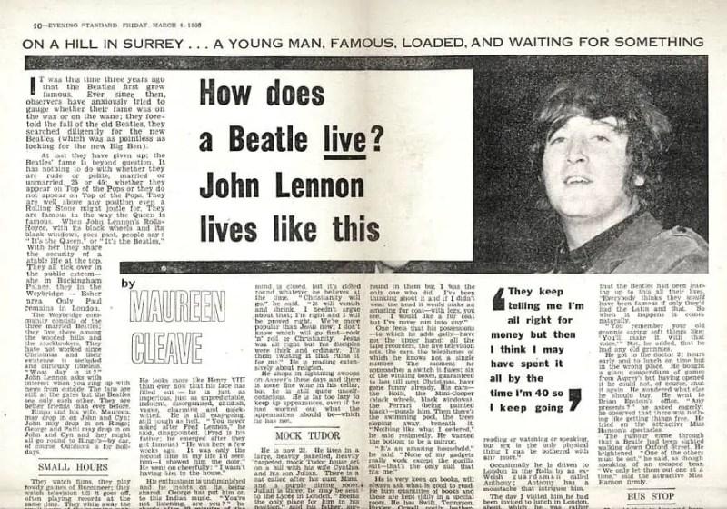 "John Lennon ""We're more popular than Jesus"" –Evening Standard, 4 March 1966"
