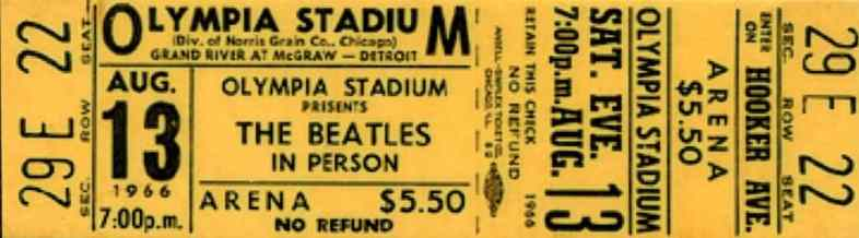 Ticket for The Beatles in Detroit, 13 August 1966