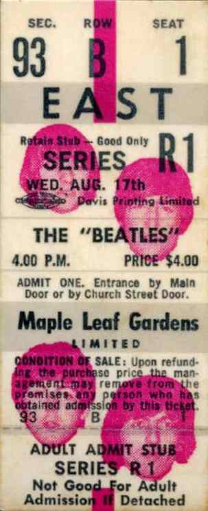 Ticket for The Beatles at Toronto's Maple Leaf Gardens, 17 August 1966