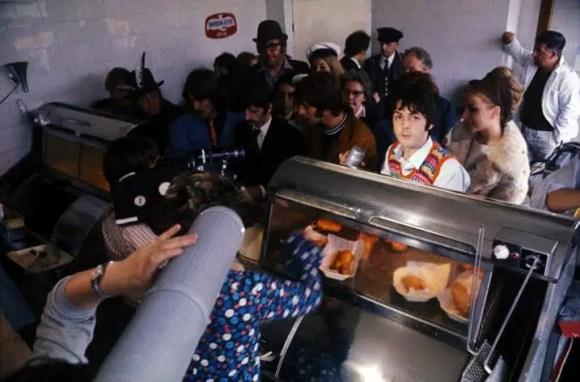 The Beatles at Smedley's fish and chip shop, Taunton, 15 September 1967