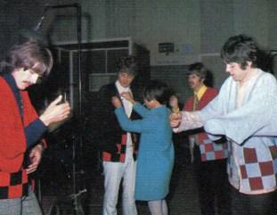The Beatles with Japanese reporter Rumiko Hoshika, 25 September 1967