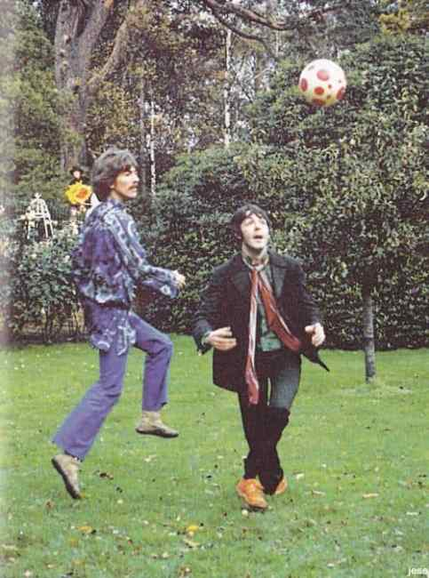 George Harrison and Paul McCartney filming Blue Jay Way for Magical Mystery Tour, 3 November 1967
