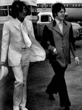 John Lennon and Paul McCartney arrive in New York to promote Apple, 11 May 1968