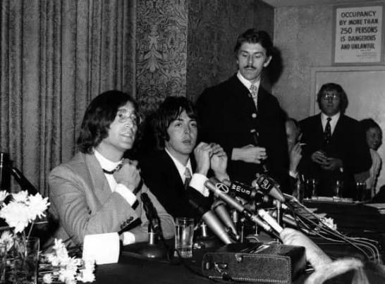 John Lennon and Paul McCartney at a New York press conference, 14 May 1968