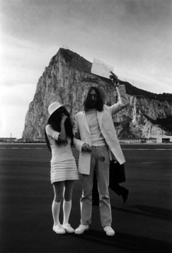 John Lennon and Yoko Ono in Gibraltar on their wedding day, 20 March 1969