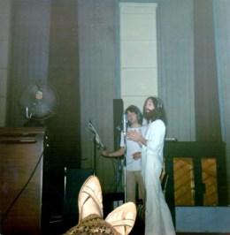 John Lennon and Paul McCartney recording Abbey Road, 1969