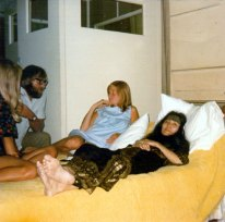 Pattie Boyd, Mal Evans, Linda McCartney and Yoko Ono at EMI Studios, 1969