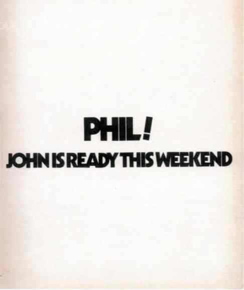 John Lennon's advertisement to alert Phil Spector to the Plastic Ono Band album sessions, 1970