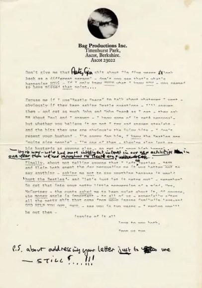Letter from John Lennon to Paul and Linda McCartney, 1971