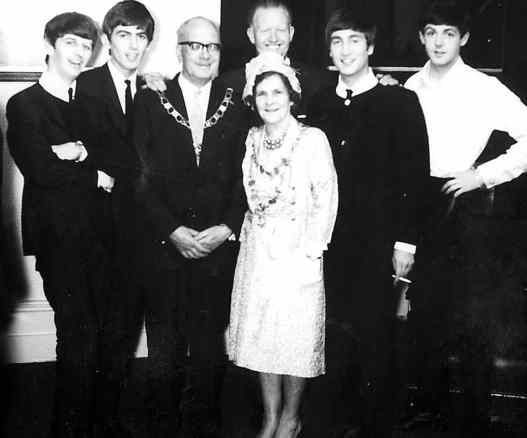 The Beatles with the Mayor and Mayoress of Abergavenny, 22 June 1963