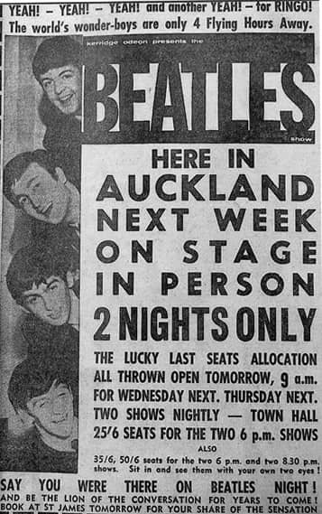 Newspaper advertisement for The Beatles in Auckland, June 1964
