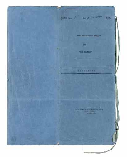 Cover of contract signed by The Beatles and Brian Epstein, 1 October 1962
