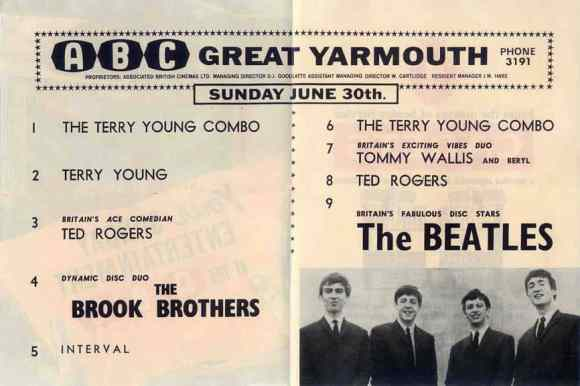 Concert programme for The Beatles at Great Yarmouth, 30 June 1963