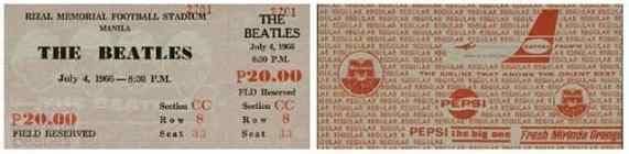 Ticket for The Beatles in Manila, Philippines, 4 July 1966