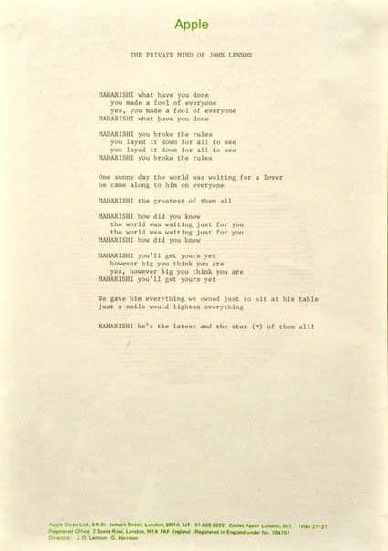 Lyrics for The Beatles' song Sexy Sadie