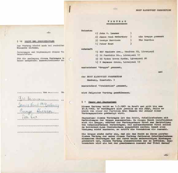 The Beatles' first contract (Hamburg, 1961)