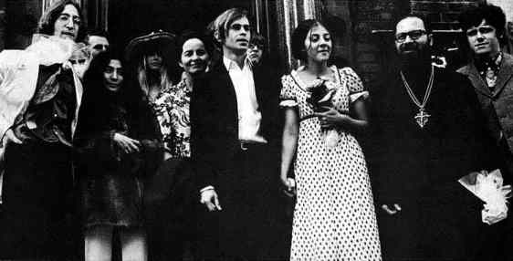 John Lennon and others at the wedding of Alexis Mardas (Magic Alex), 1968