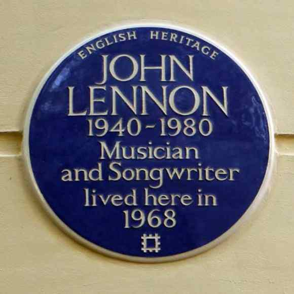 English Heritage plaque outside John Lennon's former home at 34 Montagu Square, London