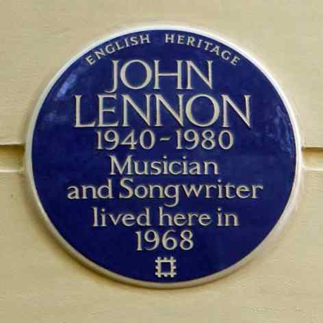 English Heritage plaque outside John Lennon's former home at 34 Montagu Square, London