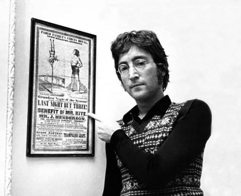 John Lennon with the Mr Kite poster, 1967