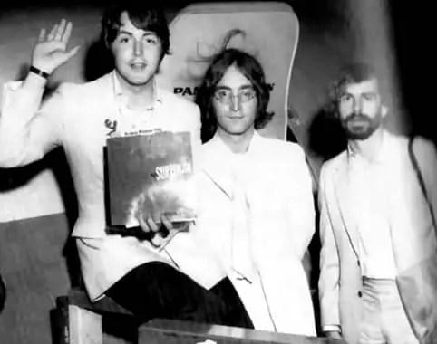 John Lennon, Paul McCartney and Magic Alex (Alexis Mardas), 1968