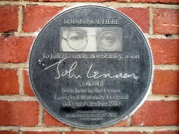 Plaque commemorating the birth of John Lennon, Liverpool Maternity Hospital