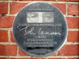 Plaque commemorating the birth of John Lennon, Liverpool Maternity Hospital