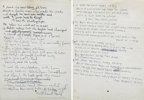 John Lennon's handwritten lyrics for A Day In The Life
