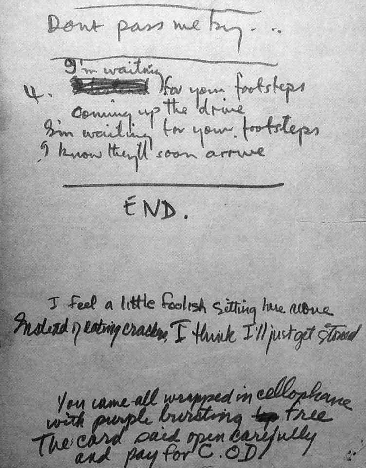 The Beatles' handwritten lyrics for Ringo Starr's Don't Pass Me By