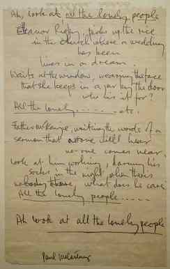 Paul McCartney's lyrics for Eleanor Rigby
