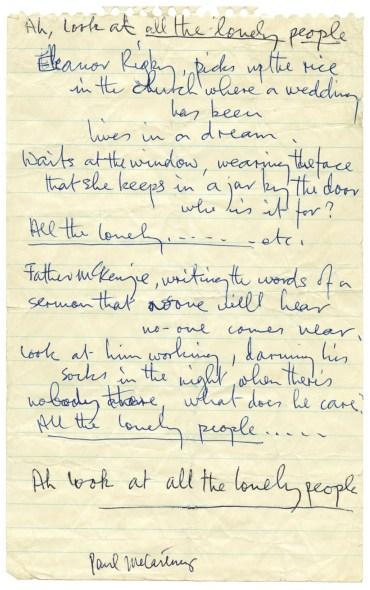 Paul McCartney's lyrics for Eleanor Rigby