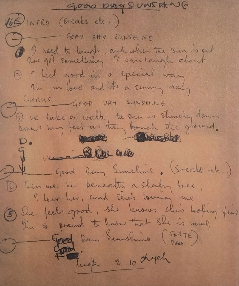 Paul McCartney's lyrics for Good Day Sunshine, 1966