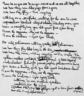 Handwritten lyrics for I Am The Walrus