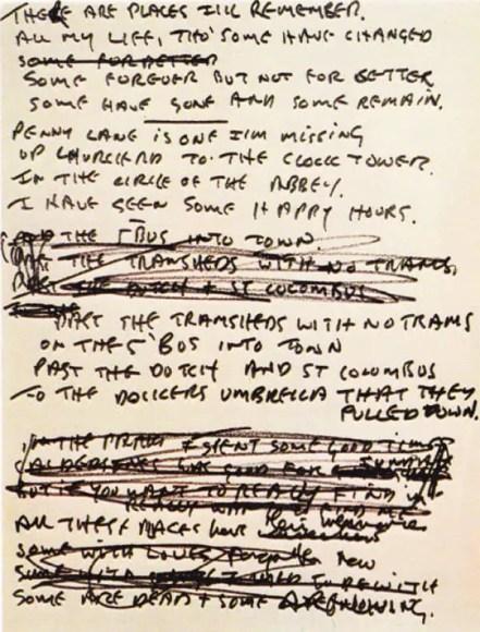 John Lennon's draft lyrics for In My Life