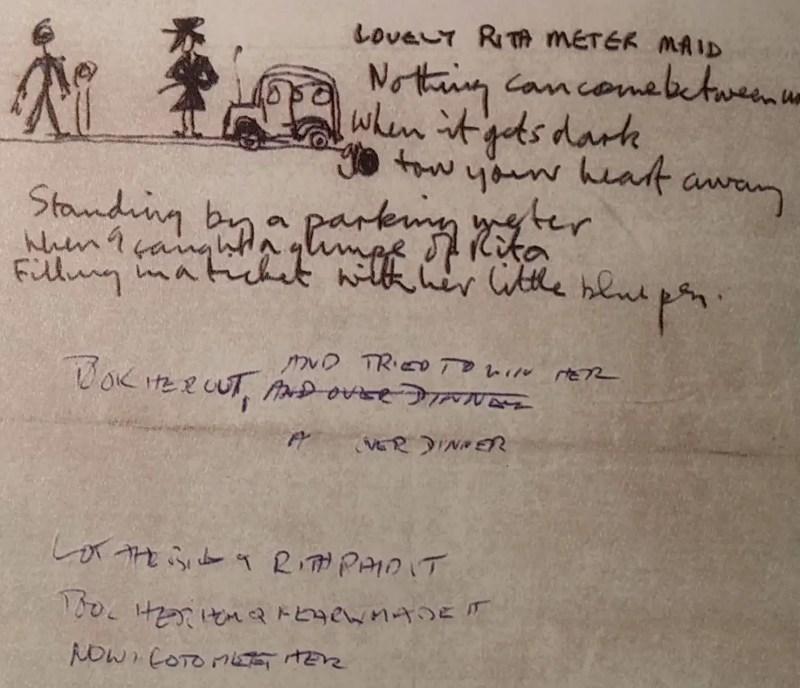 Paul McCartney's lyrics for Lovely Rita