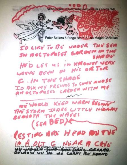 Ringo Starr's lyrics for Octopus's Garden