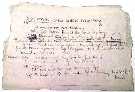 Paul McCartney's lyrics for Sgt Pepper's Lonely Hearts Club Band