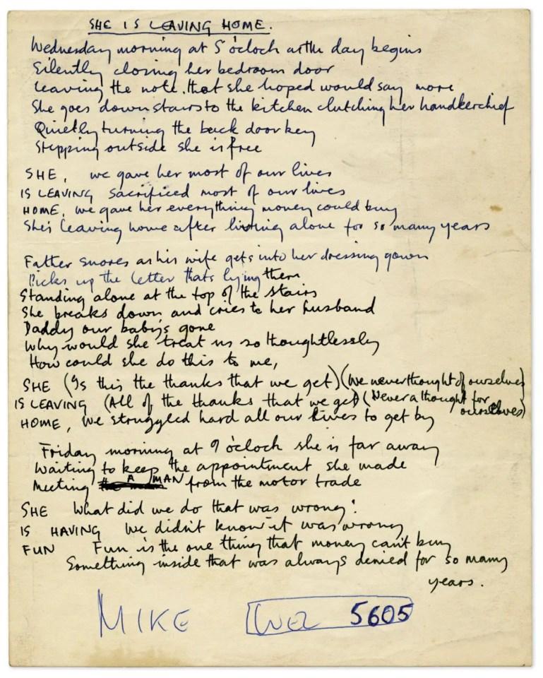 Paul McCartney's lyrics for She's Leaving Home