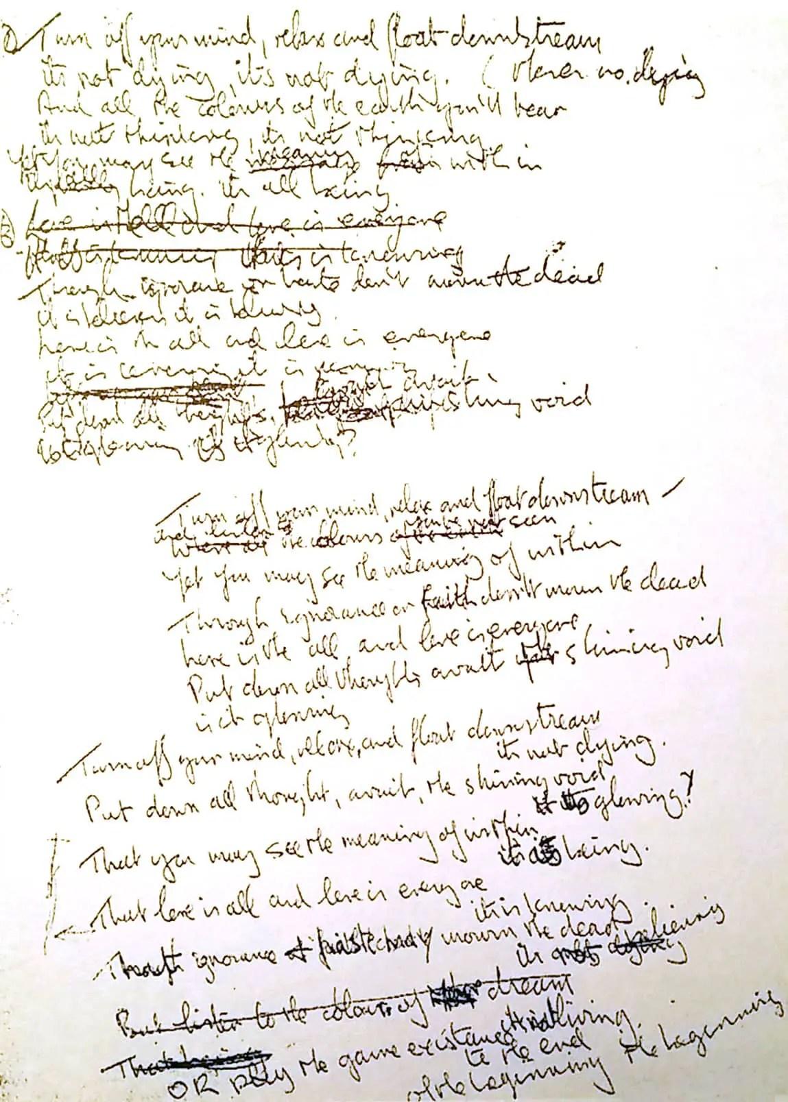 John Lennons Lyrics For The Beatles Song Tomorrow Never Knows