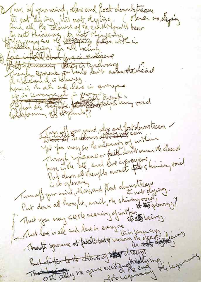 John Lennon's lyrics for The Beatles' song Tomorrow Never Knows