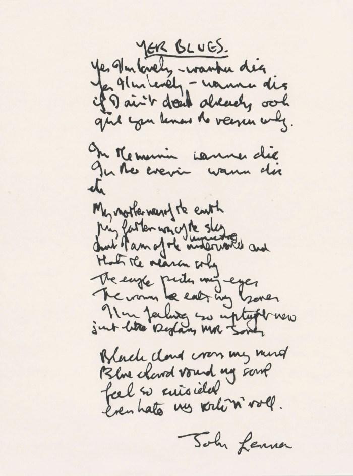 John Lennon's lyrics for The Beatles' Yer Blues