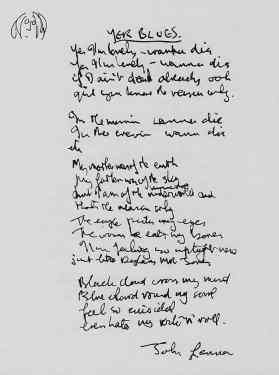 John Lennon's lyrics for The Beatles' Yer Blues
